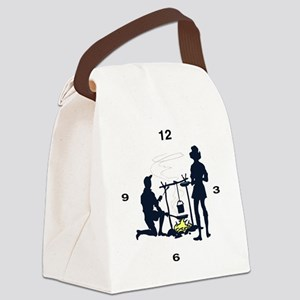 clockfacecamping1 Canvas Lunch Bag