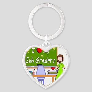 I love my 5th graders Heart Keychain