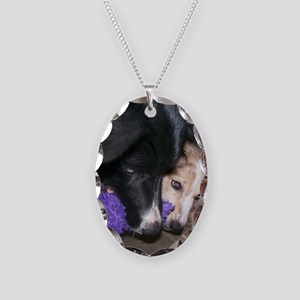 Seelie and Sekhmet square Necklace Oval Charm