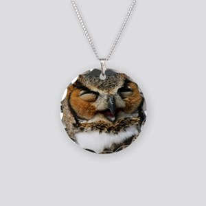 Laughing  Owl Necklace Circle Charm