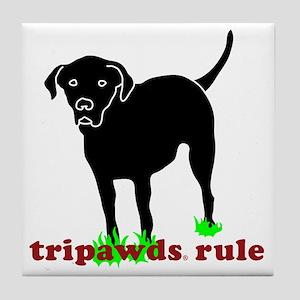 Rear Leg Tripawds Three Legged Black  Tile Coaster