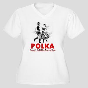 ART Polka 6 Women's Plus Size V-Neck T-Shirt