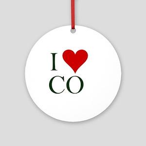 2-I-love-CO2 Round Ornament