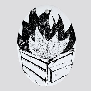 dumpster-fire Oval Ornament