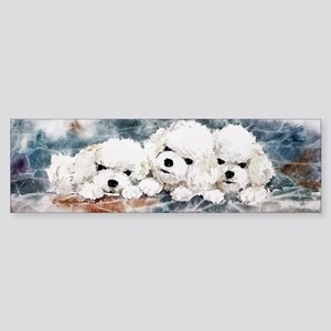 Bichon Puppies in Blue Sticker (Bumper)