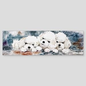Bichon Puppies in Blue Sticker (Bumper)