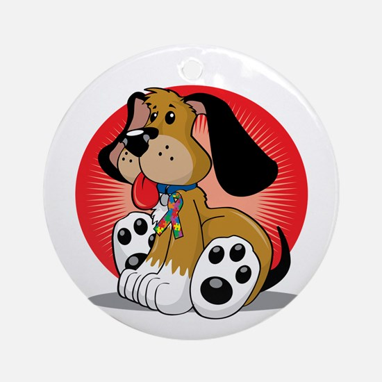 Autism-Dog-blk Round Ornament
