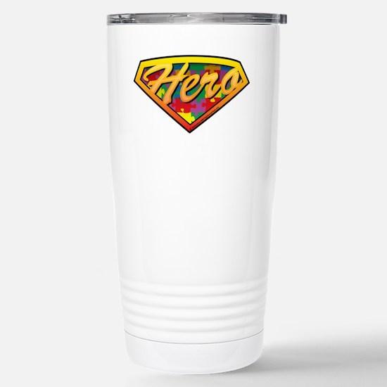 Autism-SuperHero-blk Stainless Steel Travel Mug