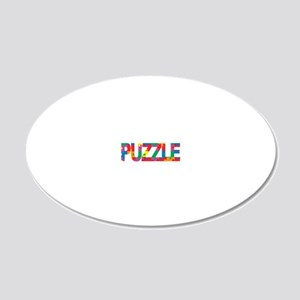 Autism-Think-PUZZLE-blk 20x12 Oval Wall Decal