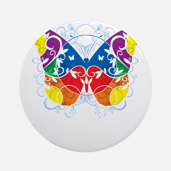 Autism-Butterfly-blk Round Ornament