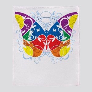 Autism-Butterfly-blk Throw Blanket
