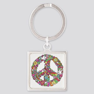 Peace & Love Square Keychain
