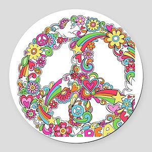 Peace & Love Round Car Magnet