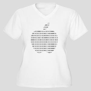 Apple Binary Larg Women's Plus Size V-Neck T-Shirt