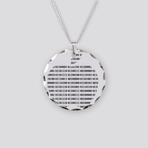 Apple Binary Large Necklace Circle Charm