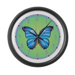Blue Butterfly Large Wall Clock