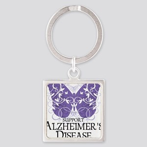 Alzheimers-Butterfly Square Keychain