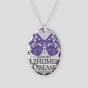 Alzheimers-Butterfly Necklace Oval Charm