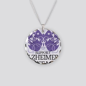 Alzheimers-Butterfly Necklace Circle Charm