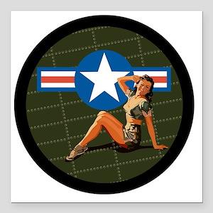 "Air Force Pinup Girl Square Car Magnet 3"" x 3"""