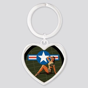 Air Force Pinup Girl Heart Keychain