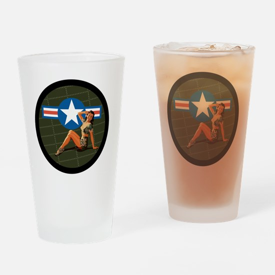 Air Force Pinup Girl Drinking Glass