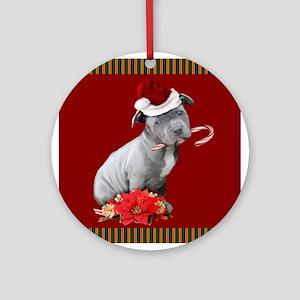 Christmas pitbull puppy Ornament (Round)