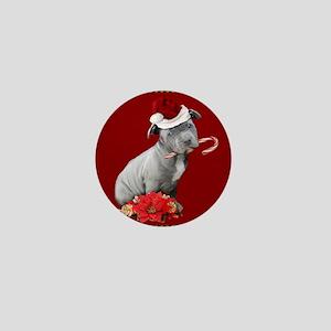 Christmas pitbull puppy Mini Button