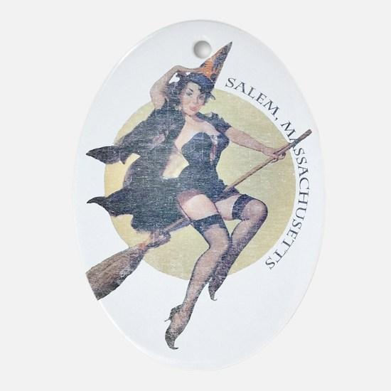 Vintage Salem Witch Oval Ornament