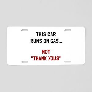 Car Runs Gas Aluminum License Plate