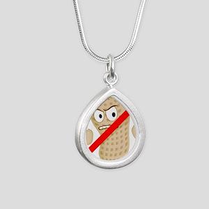 No Peanuts Food Allergy  Silver Teardrop Necklace