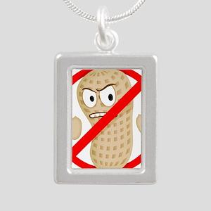 No Peanuts Food Allergy  Silver Portrait Necklace