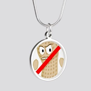 No Peanuts Food Allergy Butt Silver Round Necklace