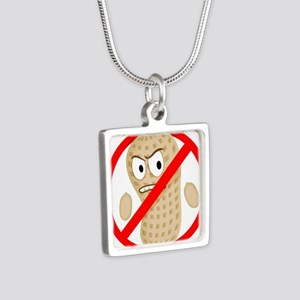 No Peanuts Food Allergy Bu Silver Square Necklace