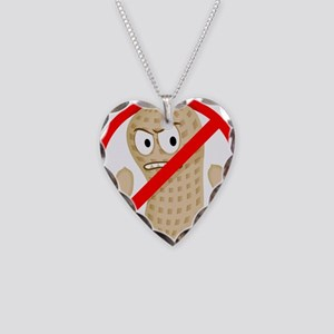 No Peanuts Food Allergy Butto Necklace Heart Charm