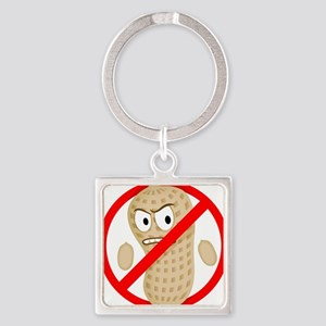 No Peanuts Food Allergy Button of  Square Keychain
