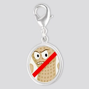No Peanuts Food Allergy Button  Silver Oval Charm