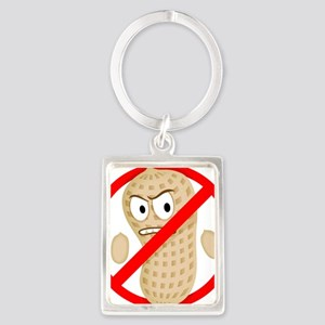 No Peanuts Food Allergy Button o Portrait Keychain