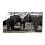 Elephant Eyes Woodcut Beach Towel