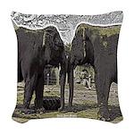 Elephant Eyes Woodcut Woven Throw Pillow