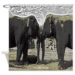 Elephant Eyes Woodcut Shower Curtain
