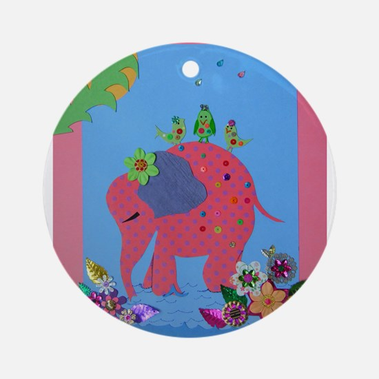 Pink Elephant with Birds Ornament (Round)