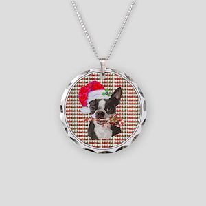 Boston Terrier Christmas Cir Necklace Circle Charm