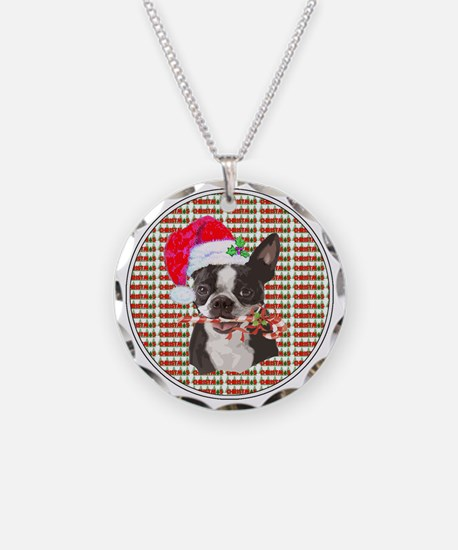 Boston Terrier Christmas Cir Necklace