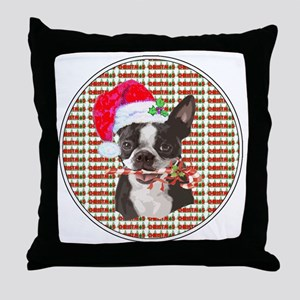 Boston Terrier Christmas Circle Throw Pillow