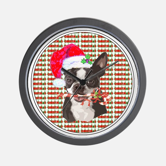 Boston Terrier Christmas Circle Wall Clock