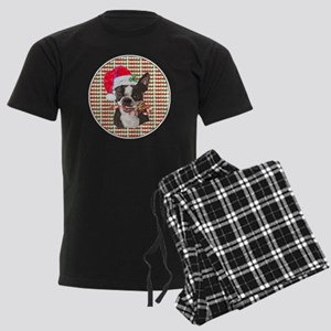 Boston Terrier Christmas Circl Men's Dark Pajamas