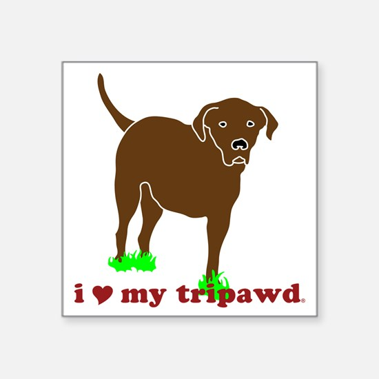 "I Love My Tripawd Front Leg Square Sticker 3"" x 3"""
