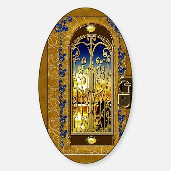 2-golden-sky-book Sticker (Oval)