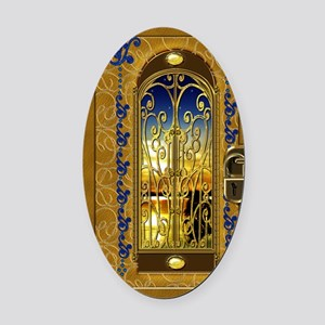 2-golden-sky-book Oval Car Magnet